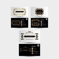 cartão de visita estilo vintage com ornamentos de ouro