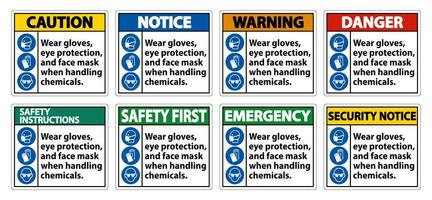 usar luvas, conjunto de sinal de máscara de proteção para os olhos