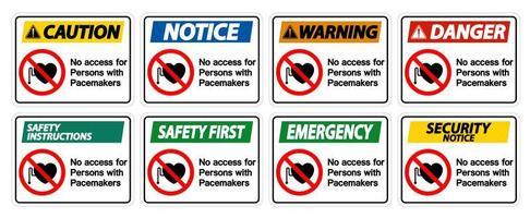sem acesso para pessoas com sinal de símbolo de marcapasso definido