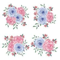 coleção de buquê de flores em aquarela peônia rosa