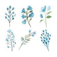 aquarela mão pintada coleção elemento floral azul vetor