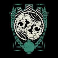 dois crânio em escudo de folha de louro vetor