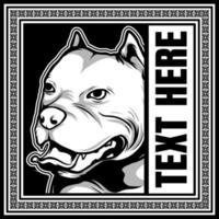 pit bull em quadro de texto ornamentado vetor