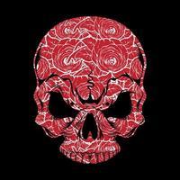 crânio com padrão de rosa vermelha vetor
