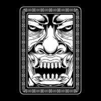 design de cabeça de demônio assustador estilo grunge assustador vetor