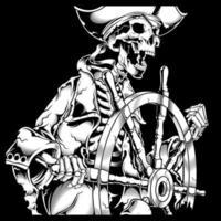 esqueleto de pirata na mão de leme desenho vetor