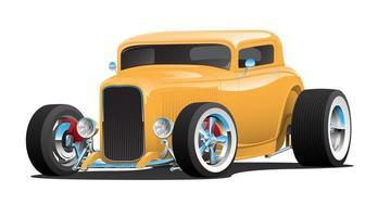 carro amarelo americano clássico do hot rod vetor