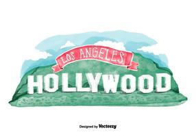 Vector de aquarela de Hollywood Sign Grátis