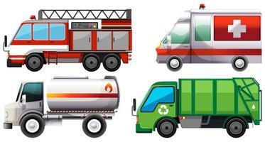 vários tipos de caminhões de serviço vetor