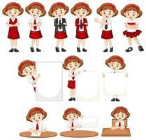 conjunto de meninas em uniforme escolar vetor