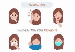 infográfico de sintoma de coronavírus vetor