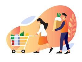 casal comprando e carregando comida