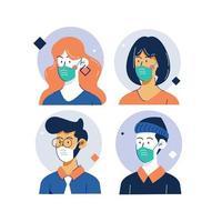 coleção de pessoas mascaradas ao longo do quadro de círculo vetor