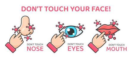 lembrete para não tocar no rosto para evitar a propagação do vírus vetor