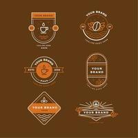 coleção de emblemas simples de café