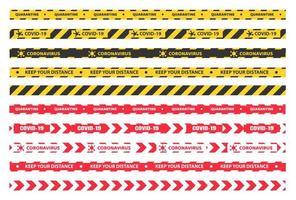 fita de quarentena de plástico amarela, preta e vermelha vetor