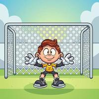 garoto de goleiro pronto no gol de futebol