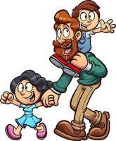 pai e filhos caminhando no dia dos pais vetor