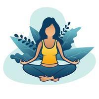 mulher fazendo meditação ou yoga na natureza e folhas