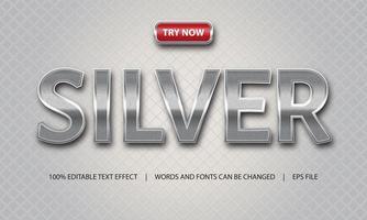efeito de texto prata e luxo vetor