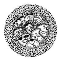 monstros engraçados fofos no padrão de forma de círculo
