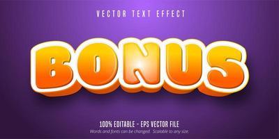 efeito de texto de estilo de jogo gradiente laranja brilhante bônus vetor