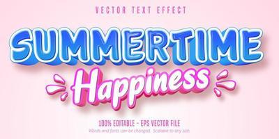 efeito de texto de estilo cômico azul e rosa de felicidade de verão