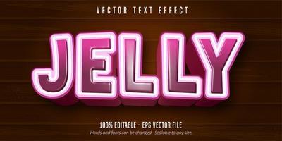 efeito de texto de estilo de desenho animado gradiente rosa geléia