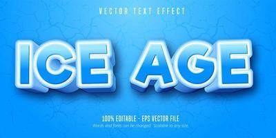 efeito de texto de estilo dos desenhos animados azul e branco da era do gelo