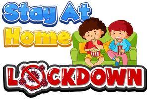 coronavirus '' lockdown '' com crianças sentadas em casa vetor