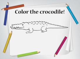 planilha de coloração de crocodilo vetor
