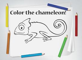 planilha para colorir camaleão vetor