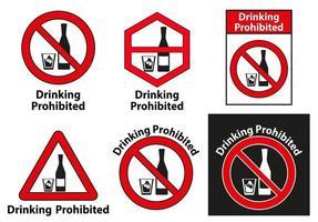beber proibido nenhum conjunto de sinais de álcool vetor
