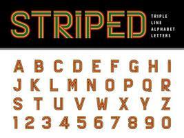 números e letras do alfabeto listrado