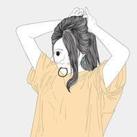mulher colocando cabelo com faixa de cabelo na boca vetor