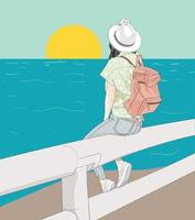 mulher sentada na praia olhando o sol vetor