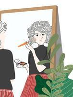 mulher colocando maquiagem