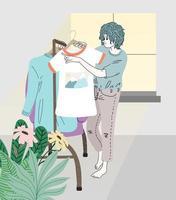 mulheres classificando roupas no camarim vetor