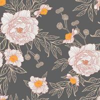 padrão sem emenda de flores peonie vetor