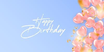 fundo festivo de aniversário com balões de hélio de forma de coração vetor