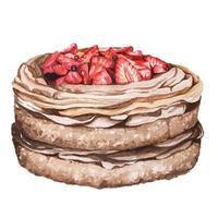 bolo de chocolate com morango pintado com aquarela vetor