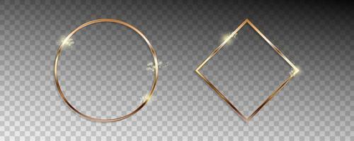 quadros de forma dourada com efeitos de luzes vetor
