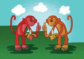Vetor de banana de macaco