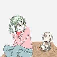 mulher olhando um filhote de cachorro bonito vetor