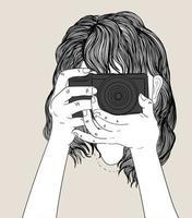 mulher segura uma câmera elegante e usa uma jaqueta jeans. conceito de arte doodle, pintura de ilustração vetor