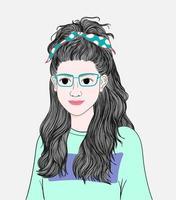 mulher verde de óculos.