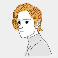 homem com cabelo amarelo vetor