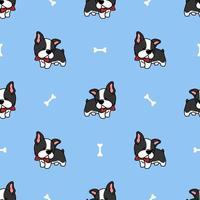 cute boston terrier filhote de cachorro dos desenhos animados sem costura padrão vetor