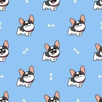 padrão sem emenda de bonito bulldog francês dos desenhos animados vetor