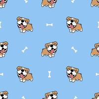 padrão sem emenda de bulldog bonito dos desenhos animados vetor